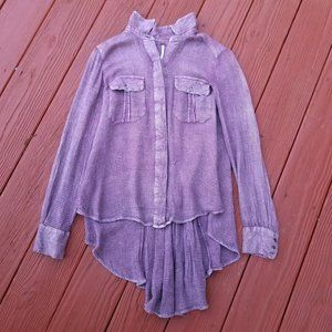 Free People Lavender Waffle Long Sleeve Top XS